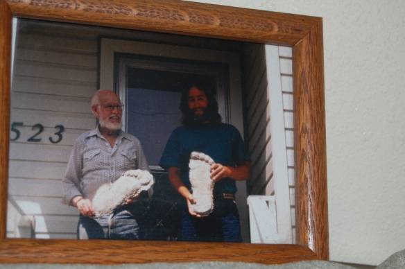 L-R, Bob Titmus, Jim Robertson at Harrison Hot Springs, B.C., with some of Bob's casts