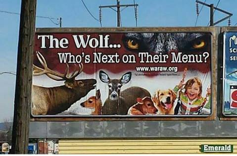 Anti-wolf billboard, Spokane, WA