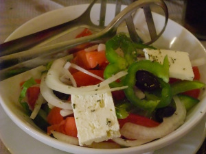 A classic Greek salad in Corfu.