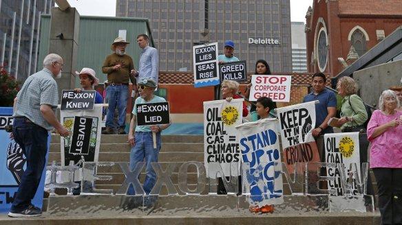 Protestors Ice Sculpture Exxon Knew