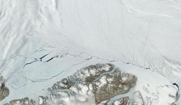 Arctic Sea Ice breaking up north of Greenland in June